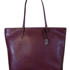 Furla D-light Burgundy Saffiano Leather Tote